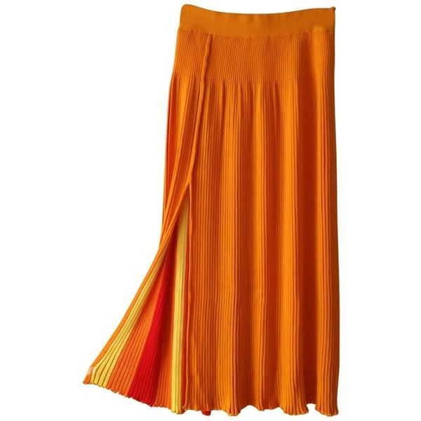 Pre-owned pleated skirt ($235) ❤ liked on Polyvore featuring skirts, orange, long pleated maxi skirt, long colorful skirts, long skirts, long orange skirt and orange maxi skirt