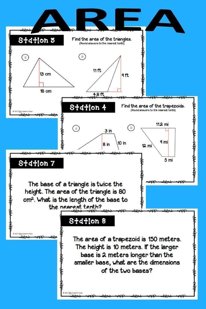 Area of rectangles, triangles, parallelograms, and trapezoids. Area stations for middle school and high school geometry students.
