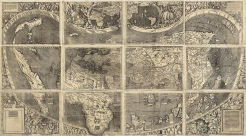 Mappa del mondo di Martin Waldseemüller in cui figura per la prima volta l'America.