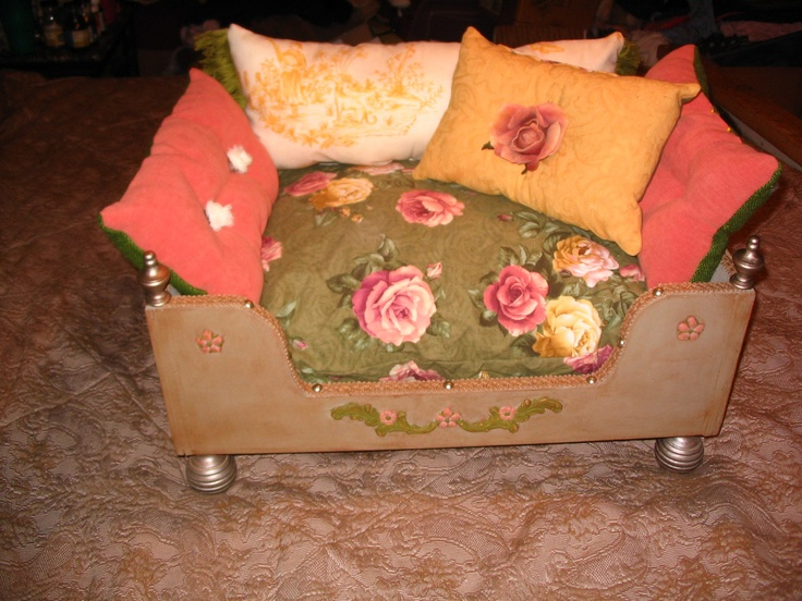 Custom Shabby Chic Vintage Roses Dog or Cat Bed Solid Wood Construction Pet Boutique Cottage Victorian. $329.00, via Etsy.