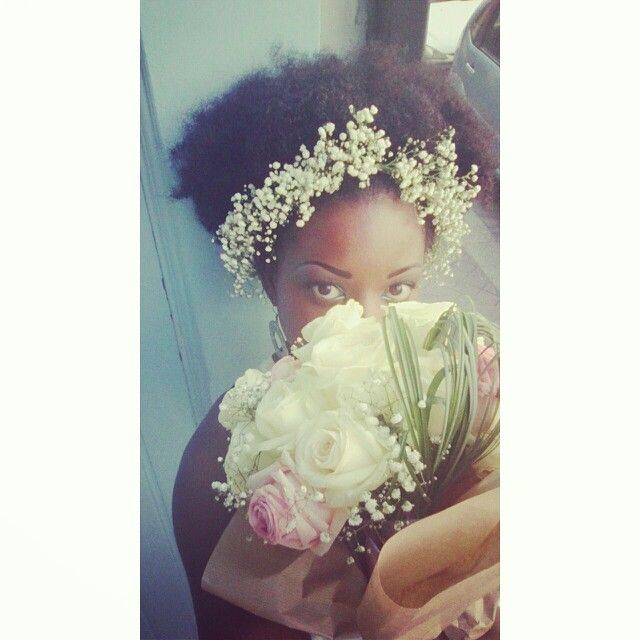 Afro puff #hairstyle #inspiration #blackhair #nappy #floralcrown