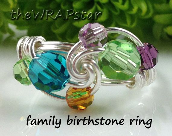 Gift Ideas for Mom Family Birthstone Ring Mothers ♥ by theWRAPstar, $25.95