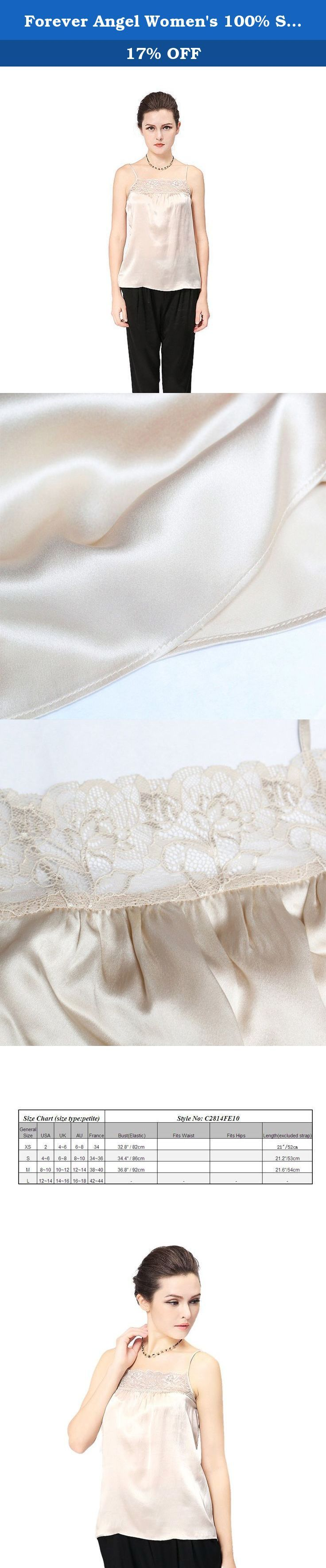 """Forever Angel Women's 100% Silk Charmeuse Lace Camisole Top Ivory Size S. ♦This top is made of 16 momme high quality silk Charmeuse,modern and elegant ; The """"hand"""" of silk is exceptionally smooth and flowing. ♦It is so light and soft that when you run it across your skin, it feels like a gentle breeze or fresh stream of water. Not only beautiful,it is also healthy! It is particularly good for those who have allergies, arthritis or other ailments because it is naturally hypoallergenic..."""