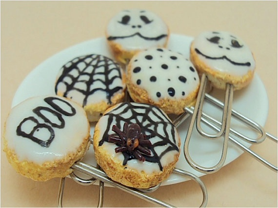 Halloween Cookies Miniature Paper Clips by SmallIdea on Etsy