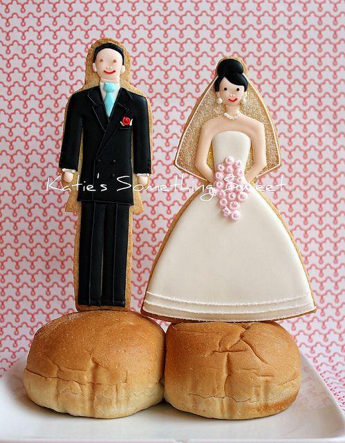 Wedding Cake Topper Cookies by Katie's Something Sweet, via Flickr