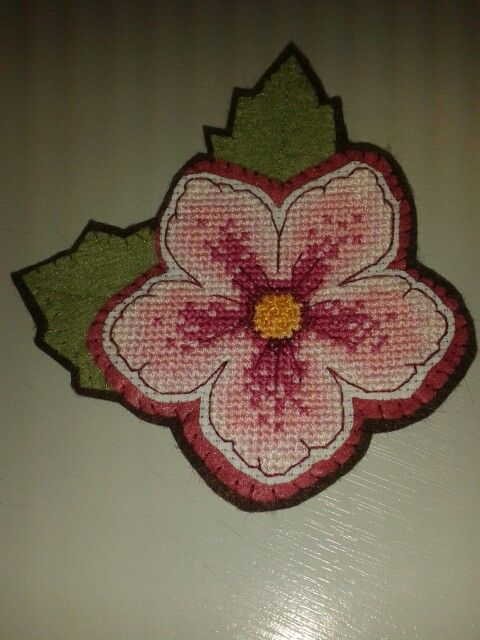 Cross stitcher 276. Vintage rose brooch.