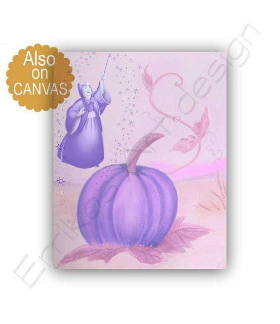 Kids Nursery Prints: Fairy Godmother Cinderella Princess wall Art Print...