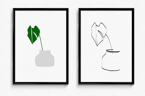 Prints on paper  stampe  foglie  vaso  leaves  vase