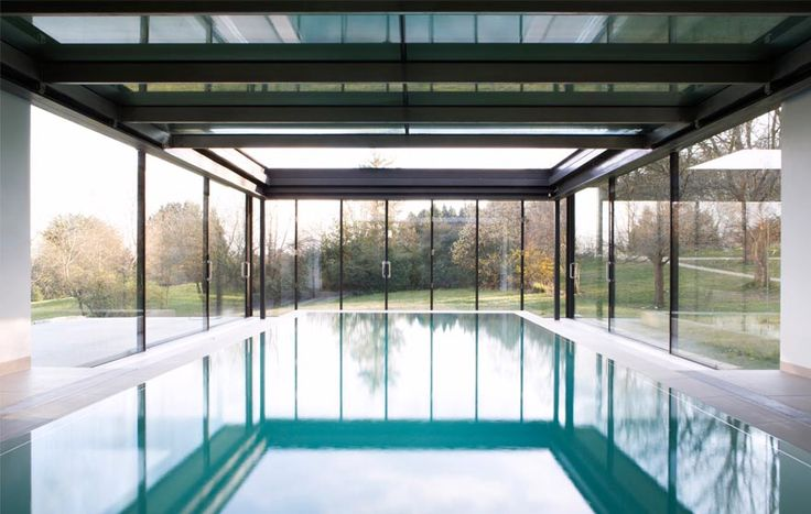 Stone House, The Manser Practice #glazing #glass #aluminium #frame #home #house #reflection #reflective #modern #modernist #crisp #detail #pool #swimming #indoor #interior #retractable #roof