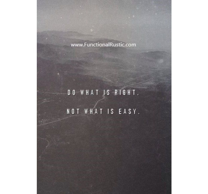 Do what is right not what is easy. www.FunctionalRustic.com #quote #quoteoftheday #motivation #inspiration #diy #functionalrustic #homestead #pallet #rustic #handmade #craft #tutorial #michigan #puremichigan #storage #repurpose #recycle #decor #country #duck #muscovy #barn #strongwoman #success #goals #dryden #salvagedwood #livingedge