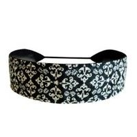 Skinny Headbands, Off White Damasks Over Dark Grey, Sophisticated Skinny Headband By Bargain Headbands