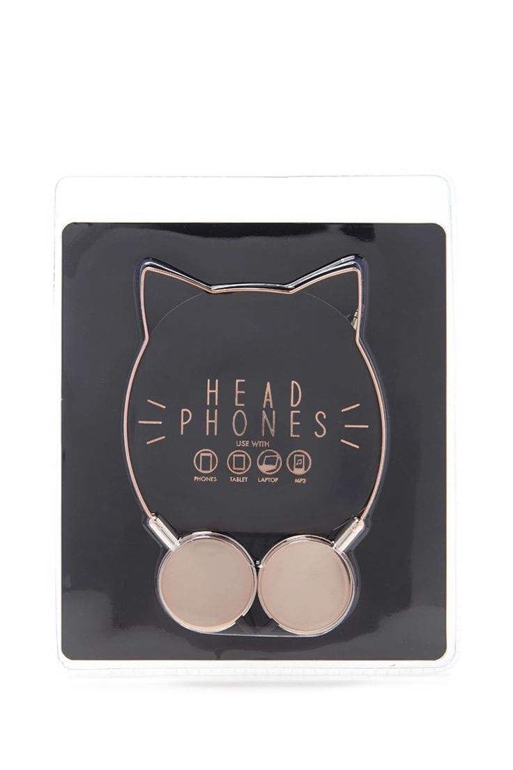 A pair of high-polish headphones with a cat ear design and padded speakers for use with phones, tablets, laptops and mp3 players.