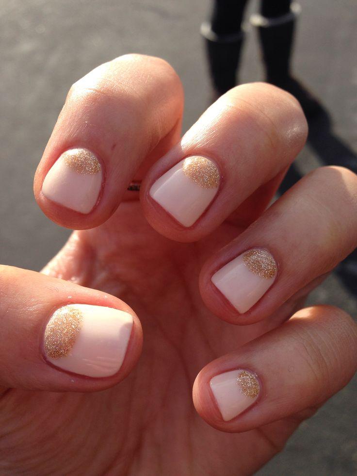Nails Gold Half Moons Nail Art