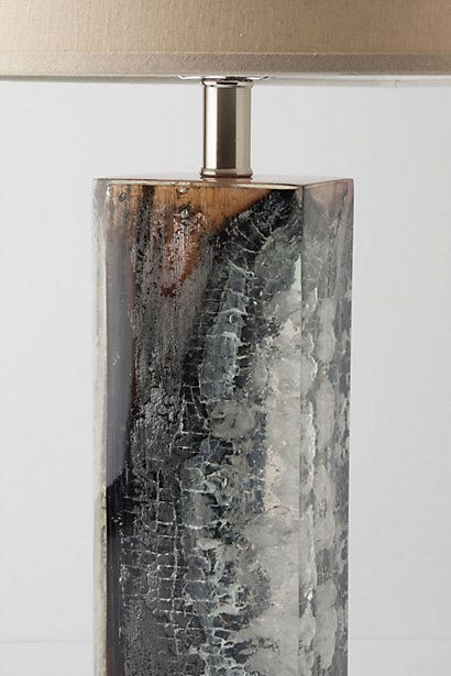 Scorched timber table lamp. Anthro