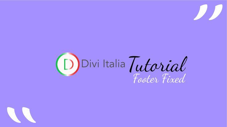 In questo Tutorial, andremo a fissare il footer del nostro sito web, con l'ausilio di codice css. Abbiamo due possibilità, fissare il footer......#divi #tutorial