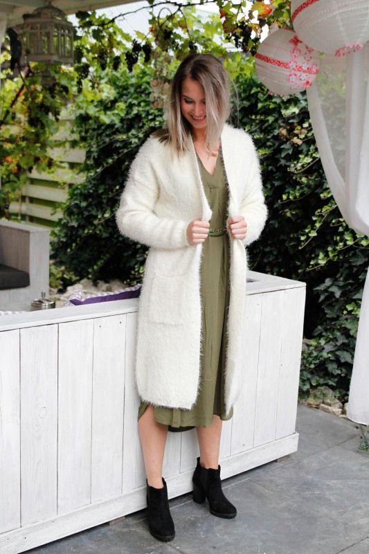 Furry Cardigan Long White