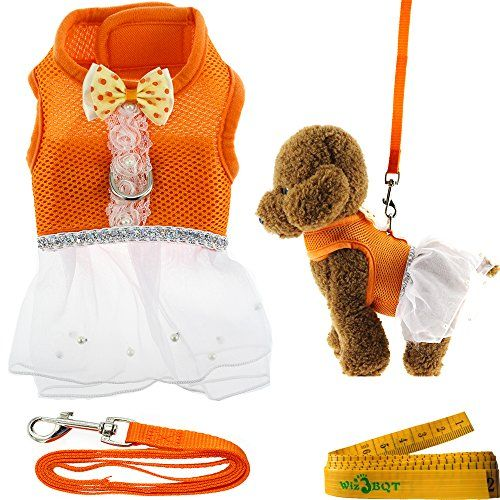 """Cute Elegant Mesh Dog Cat Pet Vest Harness with Bow tie Lace and White Short Skirt Dress Artificial Pearls and Matching Leash Set for Dogs Cats Pets in Orange (Chest Girth: 13.8\""""-15.7\"""") ** Click image for more details."""