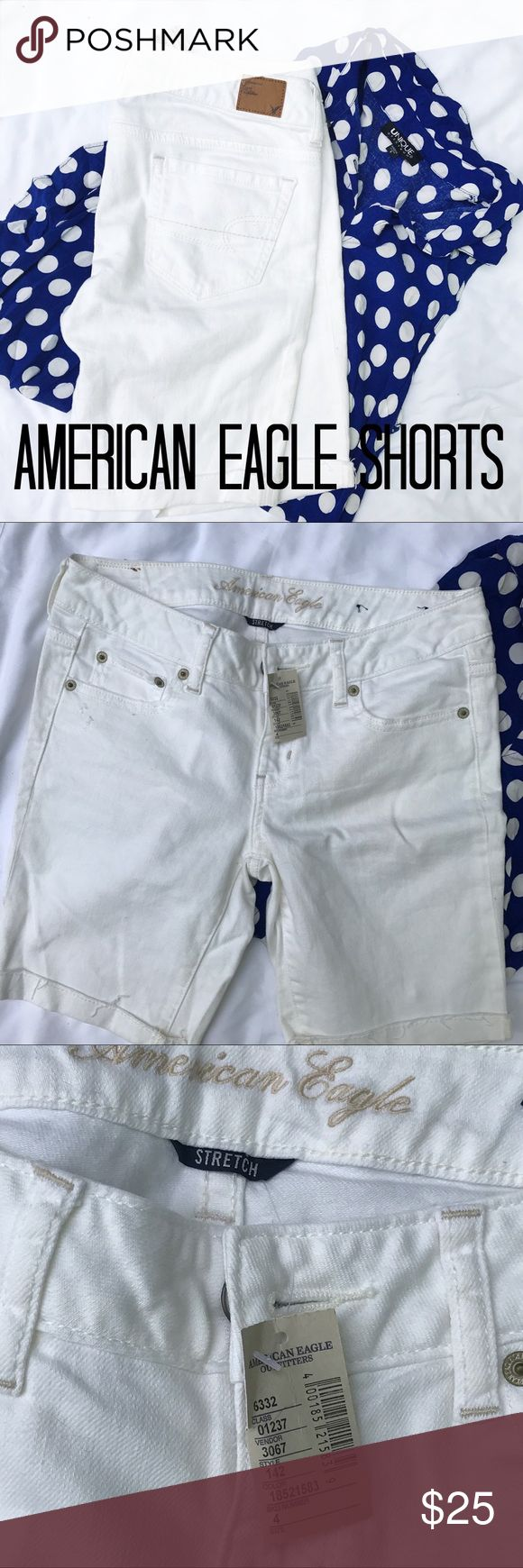💙NEW💙 AE White Shorts Never worn, purchased online and realized I wanted shorter length. These are just the perfect pair of white summer shorts every girl needs as a staple in their wardrobe. American Eagle Outfitters Shorts Jean Shorts