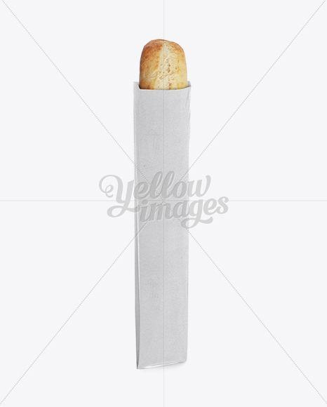 Long White Paper Baguette Bread Bag Mockup