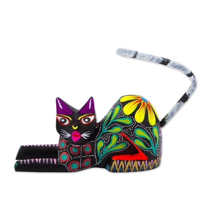 Novica Wood Sculpture, Excited Cat In Black (Mexico) (sculpture)