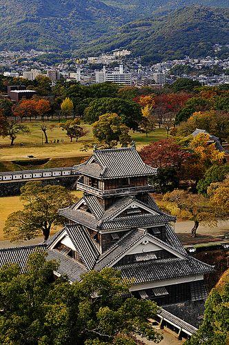 Aerial view of The Kumamoto Castle, Kyushu