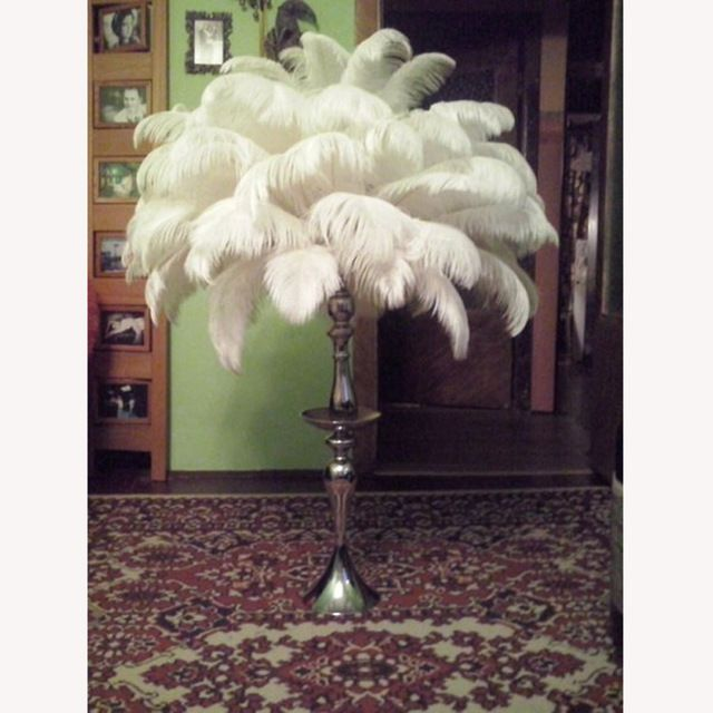 """Wholesale Hard rod 50pcs/lot white natural Ostrich Feathers 30-35cm /12-14"""" Wedding Christmas Decorations Cosplay  DIY"""