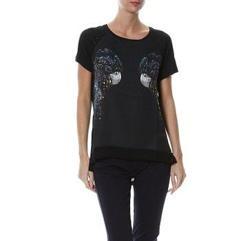 Le Temps des Cerises - T-shirt - Imprimé animal - Femme Noir noir - Noir - S