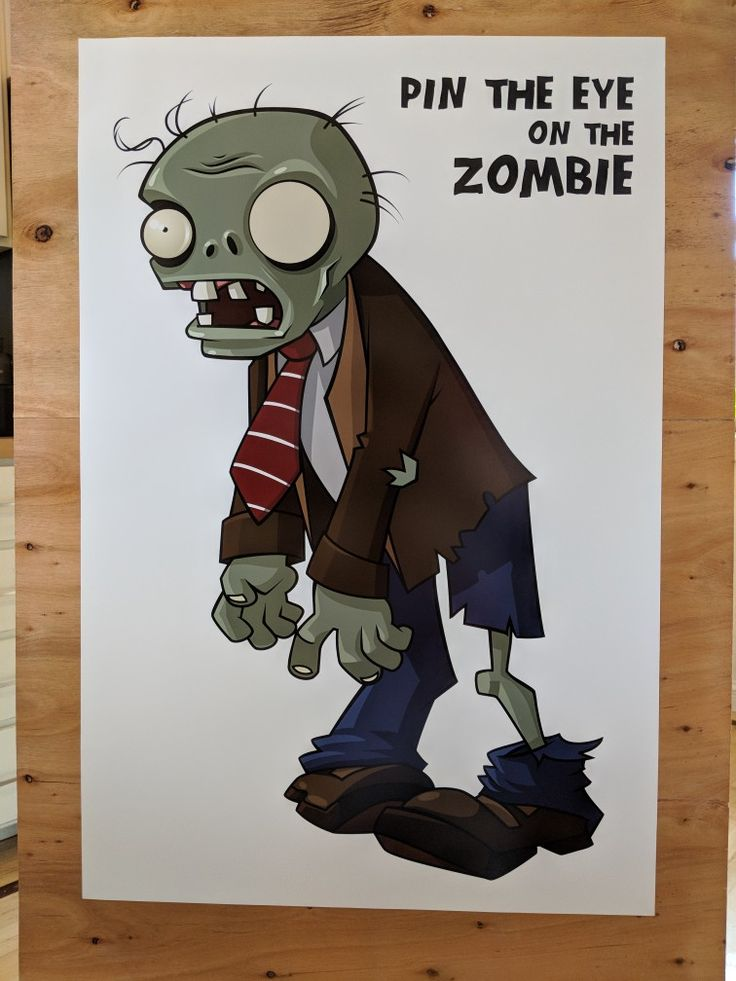 Found PNG clipart online. Downloaded Series Orbit free font to try and match Plants vs Zombies font as closely as possible. Printed 20x30 poster at Costco. Cut out eyes printed on cardstock.