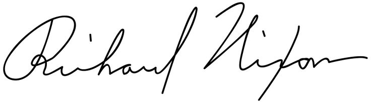 Nixon, Richard. Vector of Richard M Nixon Signature. 2010. Edited by user McSush. Wikimedia Commons. https://commons.wikimedia.org/wiki/File:Richard_M_Nixon_Signature.svg. Accessed September 7, 2017. This signature is believed to be ineligible for copyright and therefore in the public domain