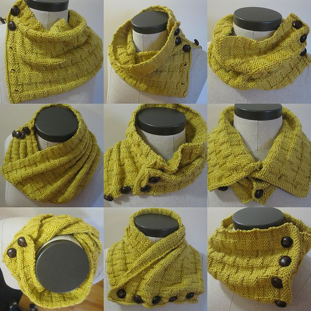 One skein of scrumptious Tanis Fiber Arts Orange Label can go far and feels wonderfully soft. Use the buttons to wear your cowl in multiple ways – however you please. Best of all: no sewing or grafting involved! Also, the knit/purl pattern is reversible, that means you can wear your cowl inside out and no-one will know…