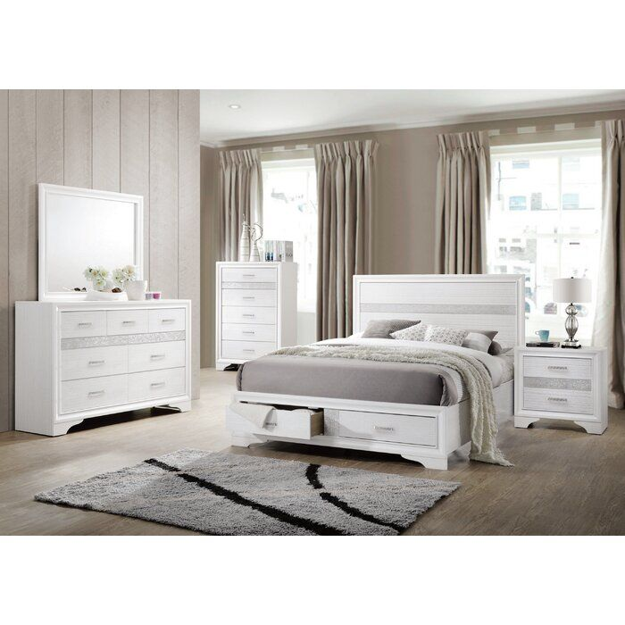 Alessandra Platform Bedroom Set White Bedroom Set Bedroom Sets Queen Bedroom Set