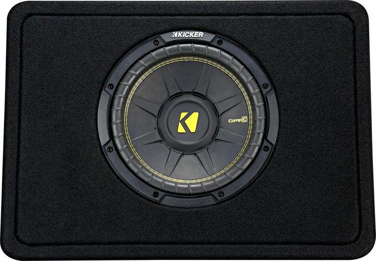Kicker - CompC Loaded Enclosures Single-Voice-Coil 2-Ohm Subwoofer - Black carpet