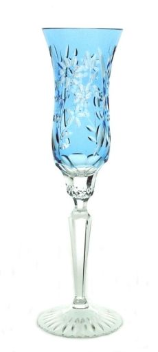 Lead crystal champagne glass in floral design. A crystal toasting flute that is unique in every respect. - Devota Champagne Glass