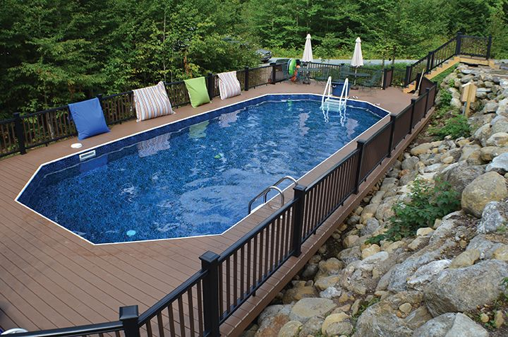 Radiant Keystone Pool semi inground on a rocky hill