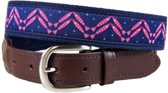 Men's belt. Pattern: Herringbone- designed by Solvejg Makaretz and made by Belted Cow in Maine.