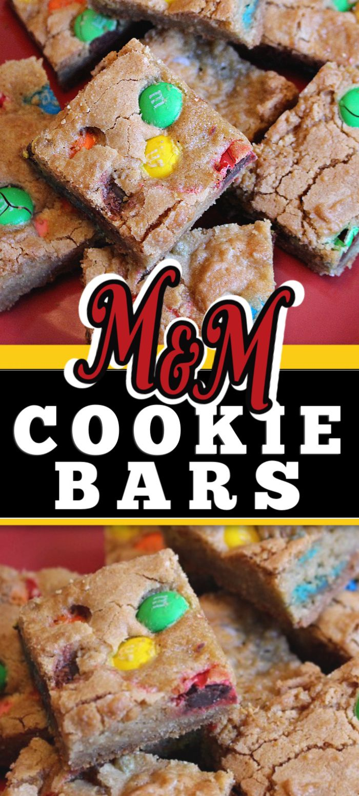 Jun 13, 2020 – This easy and simple M&M Cookie Bars recipe is so delicious. Use candy that is holiday coloured to easily…