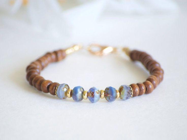 wood bead bracelet wood bracelet wood jewelry bracelet purple czech glass bracelet stacking bracelet wooden stacking - Beaded Bracelet Design Ideas