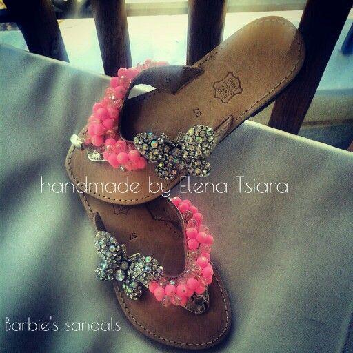 Handamde sandals pink with strass/ χειροποίητα ροζ σανδάλια