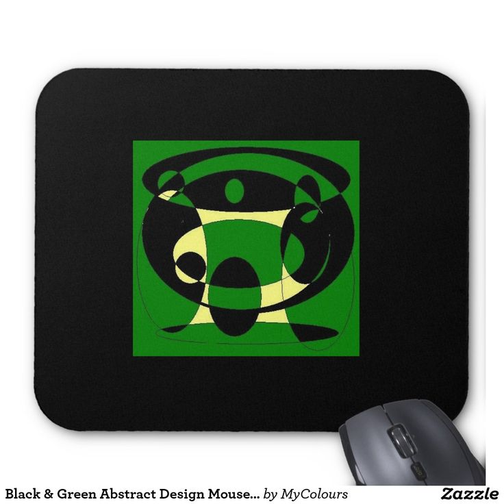 Black & Green Abstract Design Mousepad