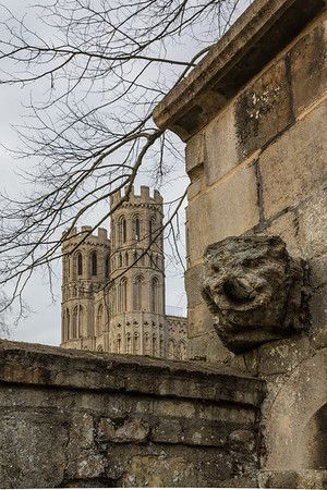 Ely City old stone wall carving. architectural photography UK