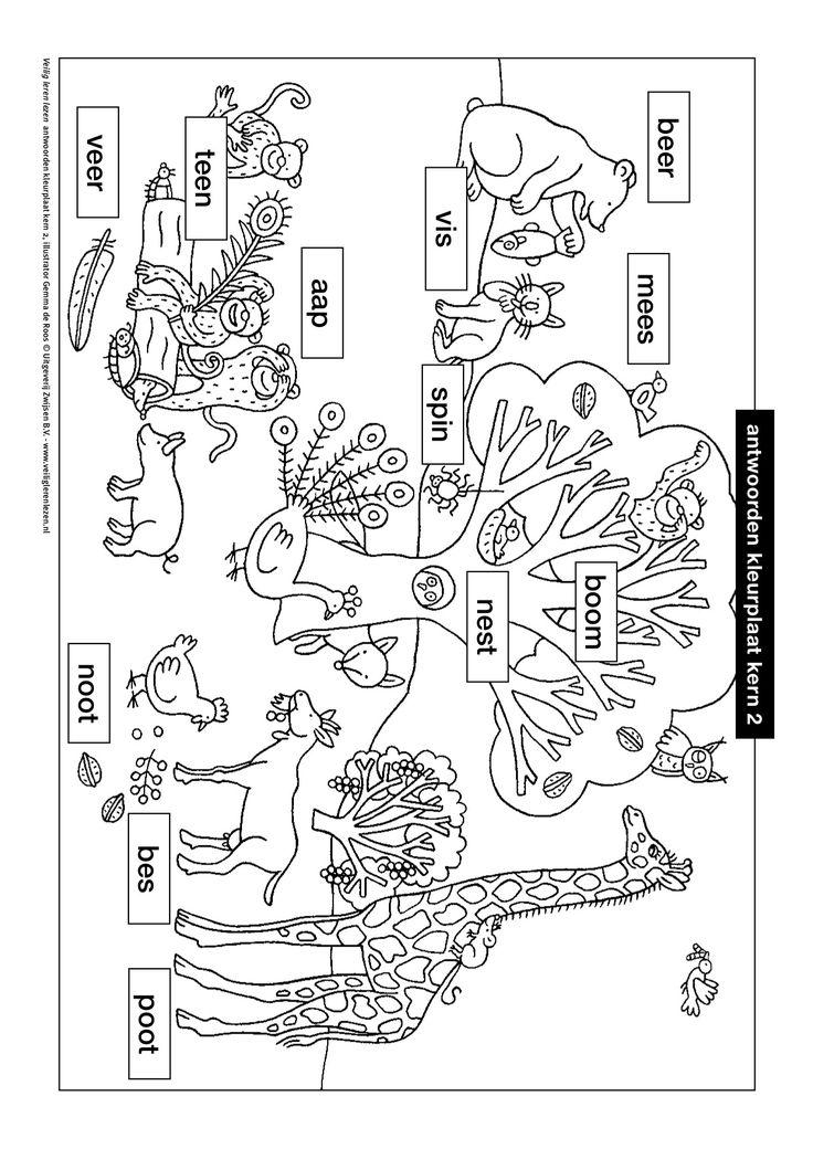 kleurplaat kern 2 met opdracht veilig leren lezen