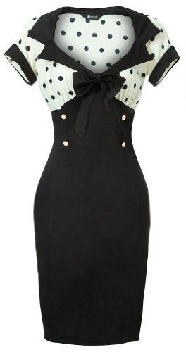 Lady Vintage New Chic 50s Wiggle Pencil Dress in Cream & Black Polka Dot - Gr. 36-50: Amazon.de: Bekleidung