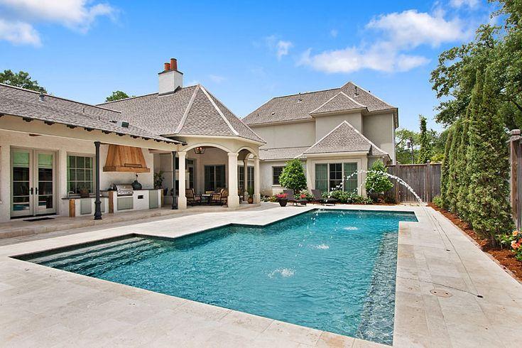 custom gunite swimming pool with travertine decking river On pool landscape design baton rouge