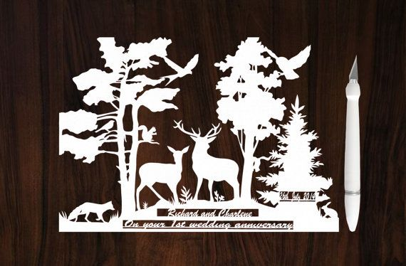 Rustic Wedding Gift - Papercutting Art - Custom Wedding Gift - Personalized…