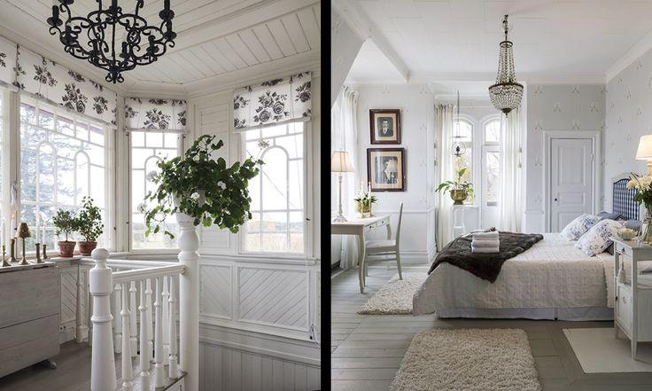 Vackert sovrum i vitt och blått