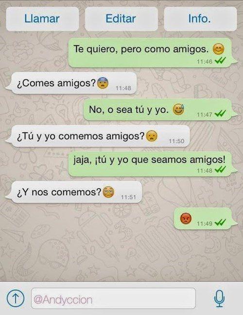 "Mensaje de whatsapp de ""te quiero, pero como amigos"""