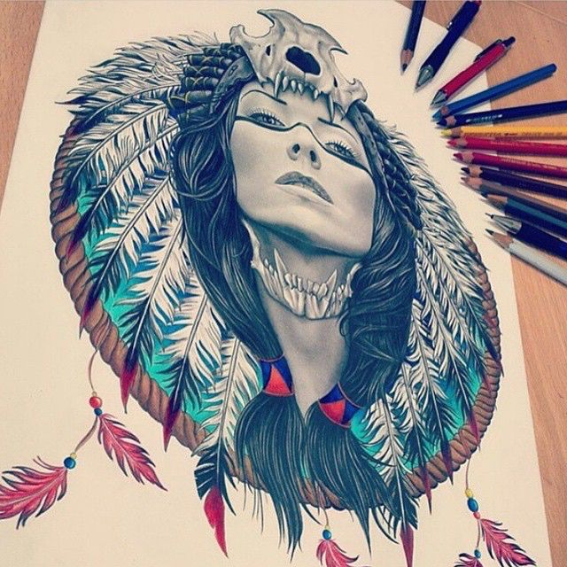 Love this drawing so much! I just can't get enough of that Indian headdress! (Artist: @davidemikart) #tattooinkspiration #justartspiration
