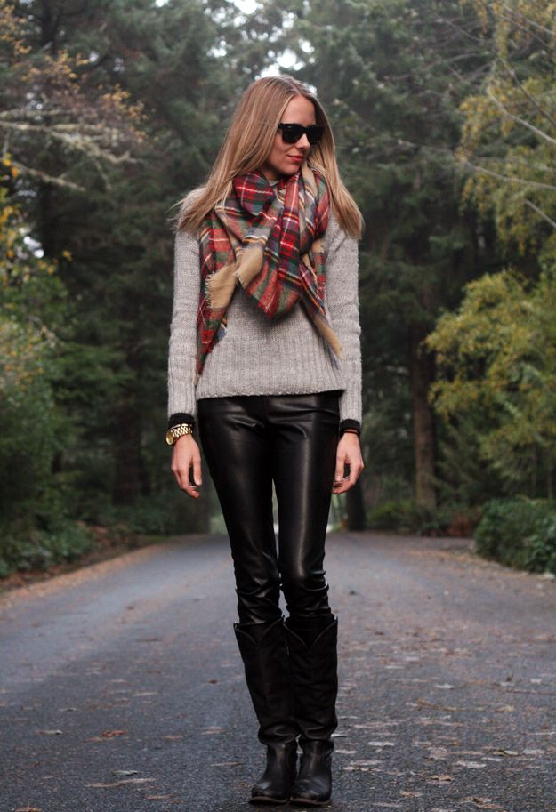 Fall Outfit Grey Sweater Black Leather Leggings Black