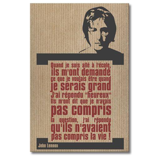 Tableau citation John Lennon - La vie