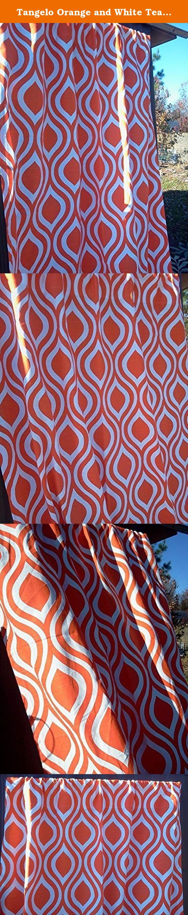 "Tangelo Orange and White Teardrop Full Length Curtains, Orange Teardrop Valance Curtains, 100% quality cotton Slub Premier Prints drapery fabric These curtains are 84"" Long by 52"" Wide. Tangelo Orange and White Full Length Teardrop Curtains, 52"" Wide by 84"" Long; 100% quality cotton duck, Premier Prints home décor weight drapery fabric. Please allow 7-14 days for delivery, as the curtains are handmade after your purchase to keep inventory costs low. Keeping inventory costs low helps keep…"